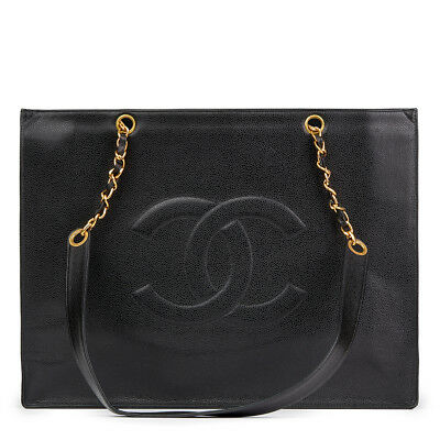 Chanel Black Caviar Leather Vintage Jumbo Xl Timeless Shopping Tote  Hb1852
