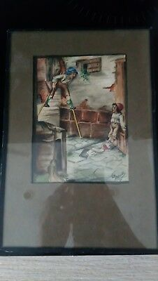 Early 20th Century 1900's Antique Watercolour Painting Signed Ball Estate Find