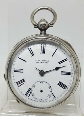 Chunky Antique solid silver gents J. C. Heald Wisbech pocket watch 1899
