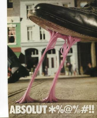 "Absolut Vodka Magazine Print Ad - ""absolut *%@*/@#!!"" Shoe Stepped In Gum --Bar"