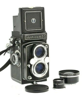 Yashica 635 Twin Lens Reflex Camera 120 Medium Format w/ Telephoto Aux Lens Kit