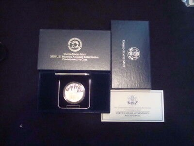 2002 Us Military Academy Bicentennial 90% Silver Proof Commemorative In Ogp/coa