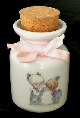 "Precious Moments  Milk Jar With Cork Top  ""Filled With Love"" Excellent Free Ship"