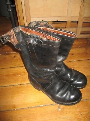 Pair of vintage LEATHER GERMAN MOTORCYCLE BOOTS
