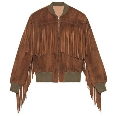 Native American Western Women Tan/Brown Suede Leather Bomber Jacket with Fringes