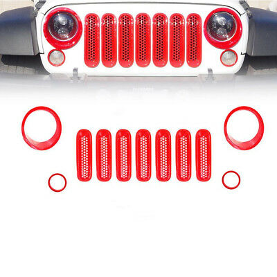For Jeep Wrangler JK Red Headlight Trim Front Mesh Grill Insert Grille Cover 11X