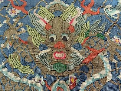 Antique Vintage Chinese Textile Panel Kesi 5 Toed  Dragons Phoniex Gold Thread