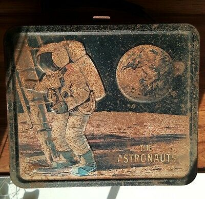 Vintage Aladdin The Astronauts Metal Lunchbox 1969 Moon Landing NASA NO Thermos