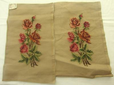 "VINTAGE MADEIRA PREWORKED NEEDLEPOINT TAPESTRY OF ROSES x 2 EACH 20"" x 12"""