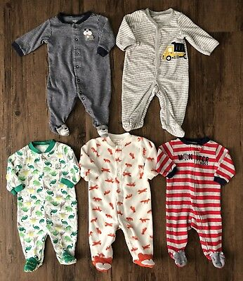 Carters Boy 3 Month Sleepers Lot Pajamas Baby Outfits Dinosaur Monster Dog Fox