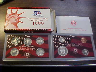 1999  SILVER Proof Set * US Mint * 9 Coins with Box & COA with State Quarters