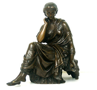 French Neo Classical Bronze Seated Female Figure Sappho After James Pradier