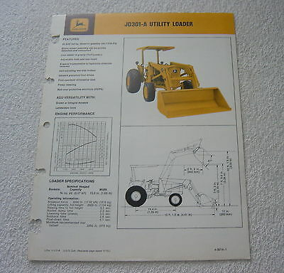 John Deere Jd301-A Utility Loader 1973 Dealer Sales Brochure