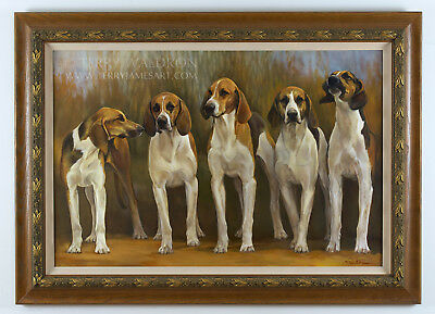 Original Classical Style Dog Oil Painting FRENCH HOUNDS by Terry Waldron Signed