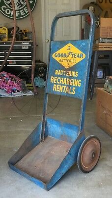 VINTAGE metal gas station sign Goodyear BATTERIES CART Tires DOLLY Oil Display