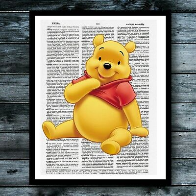 Vintage Art Dictionary Poster Winnie The Pooh Print Children Nursery Decor