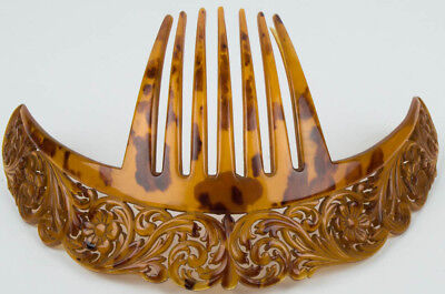"""Stunning Ornate Art Deco Large 10"""" Faux Tortoise Shell Hair Comb Made In Italy"""
