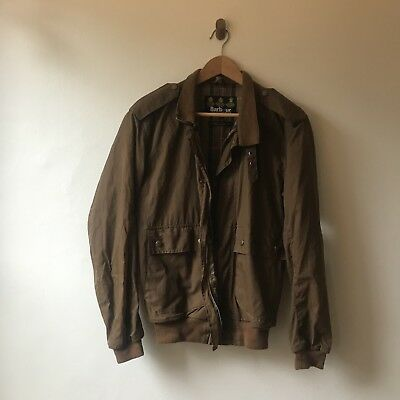 Barbour Men's Jacket S Waxed Cotton Brown Lightweight Size Small