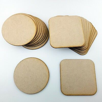 10x Wooden MDF Plain Coasters 10cm Craft Blanks circle Square Shapes tag table