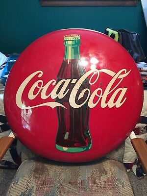 "24"" Vintage Antique AM Coke Coca Cola Tin Non Porcelain Button Bottle Disc Sign"