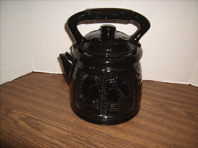 Vintage McCoy Cookie Jar Black Teapot with Colonial Couple on Side
