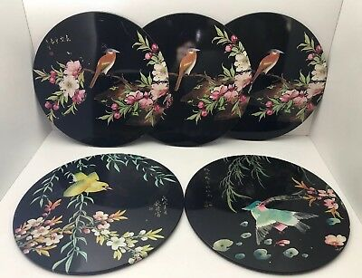 5 Oriental Bird & Flowers Placemats Coasters Black Floral Cork Backed