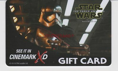 Cinemark Gift Card STAR WARS THE FORCE AWAKENS Captain Phasma Collectible New