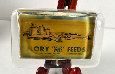 1900's Flory Feeds Flory Milling Co Bangor, Pa Glass Paperweight / Mirror