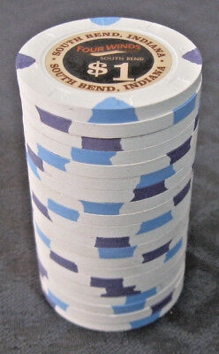 (20) 2018 Four Winds Casino, South Bend. $1 poker gaming chips. Paulson Top Hat
