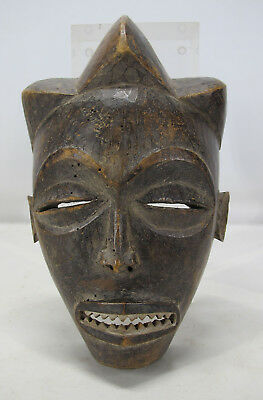 "Vintage African Chokwe Tribe Hand Carved & Painted 9"" Wood Face Mask Angola yqz"