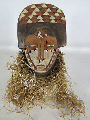 VTG African Pende Tribe Hand Carved&Painted Ceremonial Wood Face Mask Zaire yqz