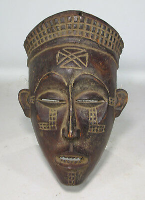 Vintage African Chokwe Tribe Hand Carved Ceremonial Wooden Face Mask Angola yqz