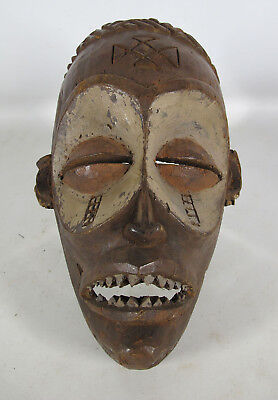 Vintage African Chokwe Tribe Hand Carved & Painted Wooden Face Mask Zaire yqz