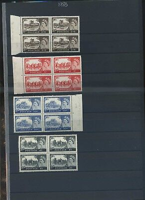 GB 1959 wilding castles 2nd De La Rue printing sg 595/8 fine MNH blocks of 4