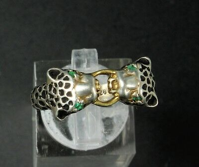 Vintage Sterling Silver & Emerald 3D Panther Leopard Cat Ring Size 9