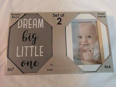 "NIP 2 piece set ""Dream Big Little One"" wooden block with a white 4""x6"" photo..."