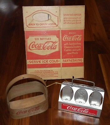 Lot of 3 1930's to 1960's Coca-Cola cardboard aluminum wood carrier cartons