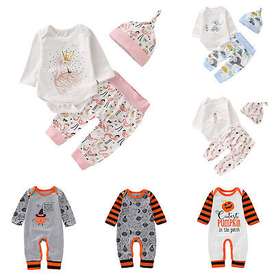 Halloween Baby Rompers Long Sleeve Soft Boys Girl Jumpsuit Pants Hat Outfits Set