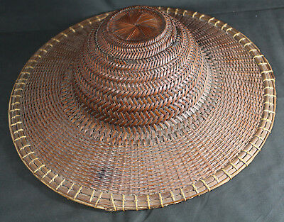 Vintage Vietnamese Hand Woven Bamboo Reed Field Sun Hat