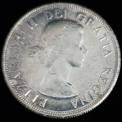 1958 Canada 50c Fifty Cents Silver Elizabeth II 1st Portrait SimpCoA Coin 6C5844