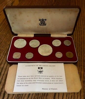 1966 Bahamas 9-Coin Mint Set 2.8723 Troy oz Silver 1 cent to $5 Only 75K Minted