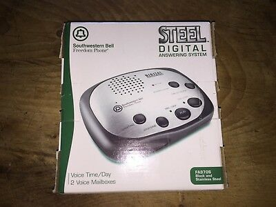 """Southwestern Bell Digital Answering Machine FA970S """"NEW"""" Black & Stainless Steel"""
