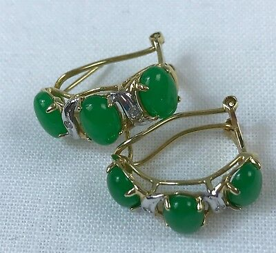 14k Yellow Gold Chrysoprase Earrings w/ Small Diamond Accents