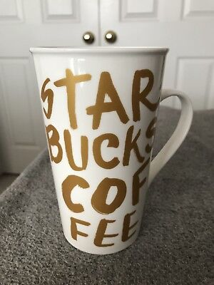 Starbucks Coffee Cup/Mug, in white with gold letters, 2015, 16 fl oz