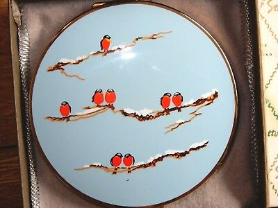 NOS Vintage Stratton Compact Gold & Enamel Birds Snowy Branches Never Used