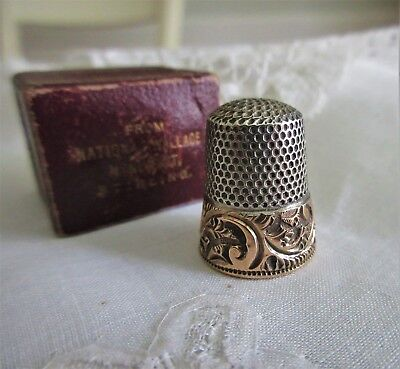 antique STERLING and (marked)14K GOLD,Ketcham & McDougal,thimble in orig.box!