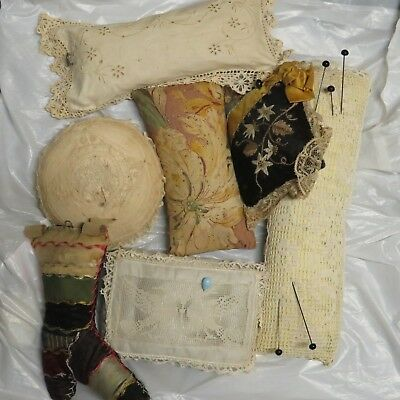 Victorian Pincushion lot, late 1800's early 1900's, See Photos, Antique