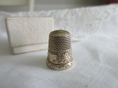 antique,STUNNING,gold filled,SIMONS BROS,TREFOIL MARK,THIMBLE,IN NICE BOX, TOO!