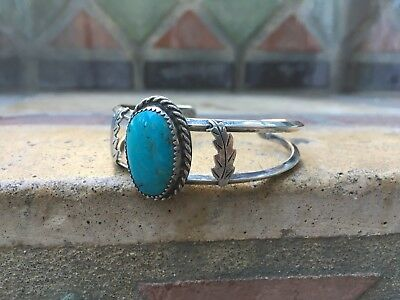 Vintage Sterling Silver and Turquoise Navajo Indian Bracelet
