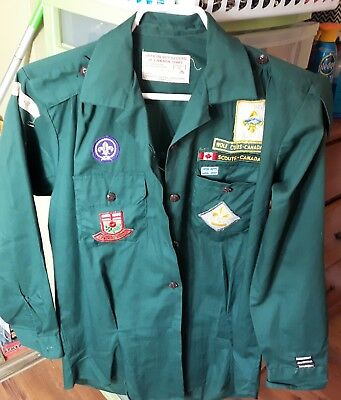 Vintage Boy Scouts Canada Shirt with Badges Size Ladies 16